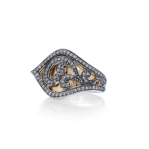 Brown Diamond & 18k Gold Scroll Overlap Ring