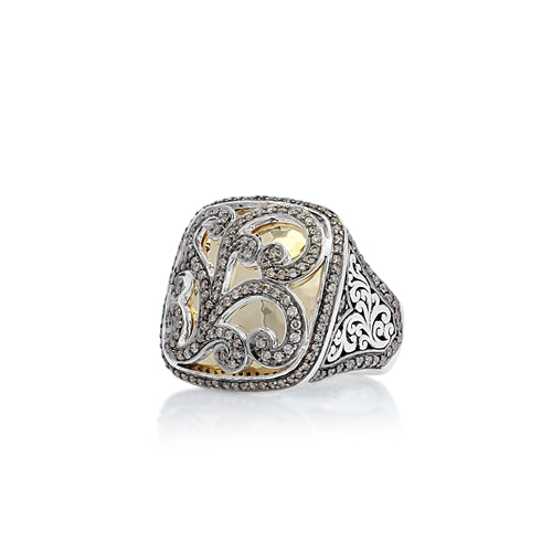Square Brown Diamond & 18k Gold Scroll Ring - Lois Hill Jewelry