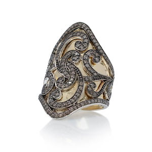 Large 18k Gold & Brown Diamond Scroll Ring