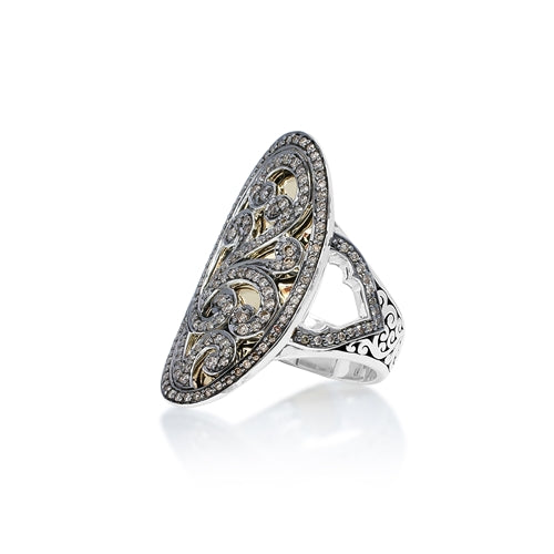 Oval Brown Diamond & 18k Gold Ring