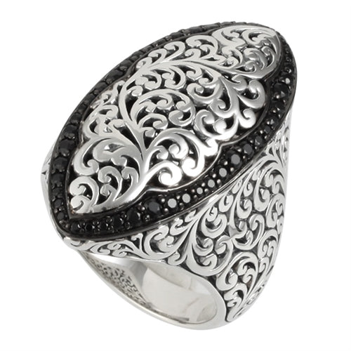 Hand Carved Black Sapphire Cocktail Ring - Lois Hill Jewelry