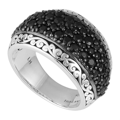 Hand Carved Black Sapphire Ring - Lois Hill Jewelry