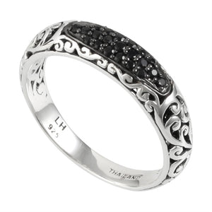 Black Sapphire, Classic Signature Scroll Band - Lois Hill Jewelry