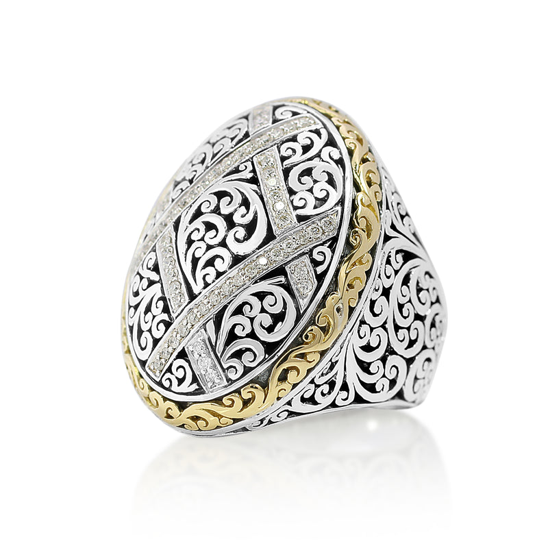 18K Gold, White Diamond, and Sterling Silver Ring