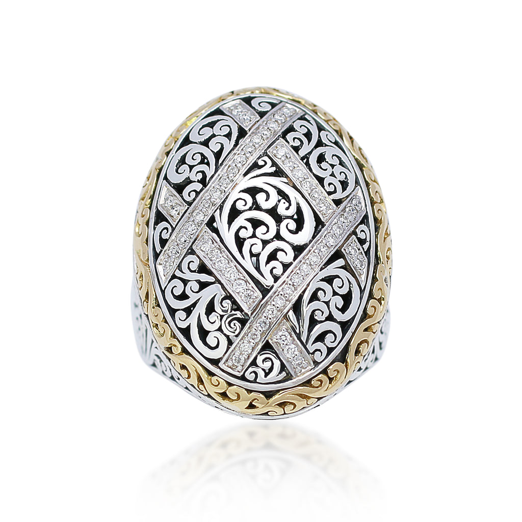 18K Gold, White Diamond, and Sterling Silver Ring - Lois Hill Jewelry