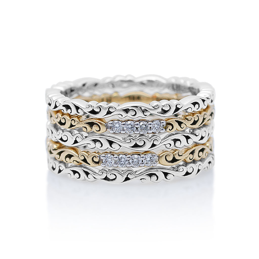 Handcrafted Silver and 18K Gold Rings with White Diamonds