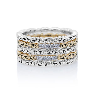 Handcrafted Silver and 18K Gold Rings with White Diamonds - Lois Hill Jewelry