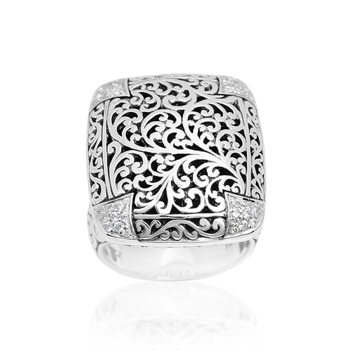 Rectangular Cutout Ring with Diamond Accents