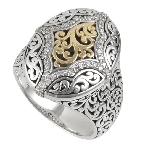 18K Yellow Gold, White Diamond & Sterling Silver Ring - Lois Hill Jewelry