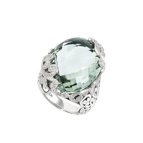 Signature Scroll Diamonds, Oval Green Amy Cocktail Ring