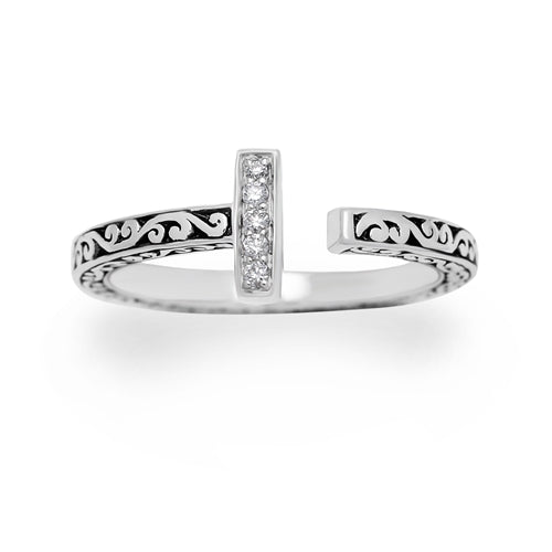 LH Signature Sterling Silver Scroll Open Ring with White Diamond Bar - Lois Hill Jewelry