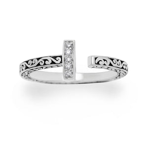 LH Signature Sterling Silver Scroll Open Ring with White Diamond Bar