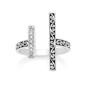 White Diamond Sterling Silver LH Signature Scroll Open Ring with Parallel Bars - Lois Hill Jewelry
