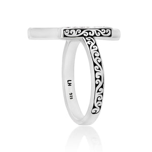 White Diamond Sterling Silver LH Signature Scroll Open Ring with Parallel Bars