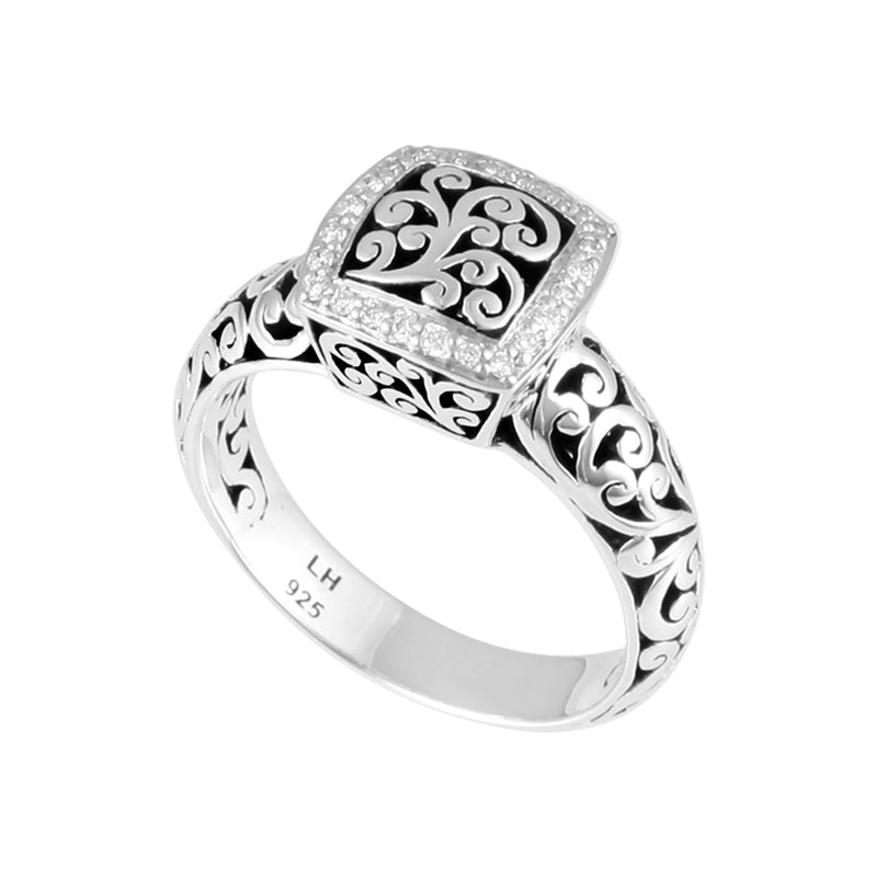 Classic Cutout Scroll Band w/Scroll ID Diamond Border Ring