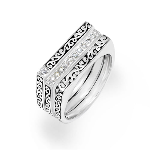 White Diamond Sterling Silver LH Signature Scroll Geometric Ring - Lois Hill Jewelry