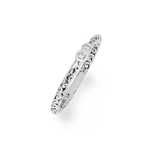 LH Sterling Silver Signature Scroll Rounded Ring with White Diamond - Lois Hill Jewelry