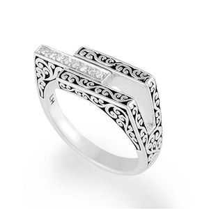 White Diamond Sterling Silver LH Signature Scroll Geometric Ring