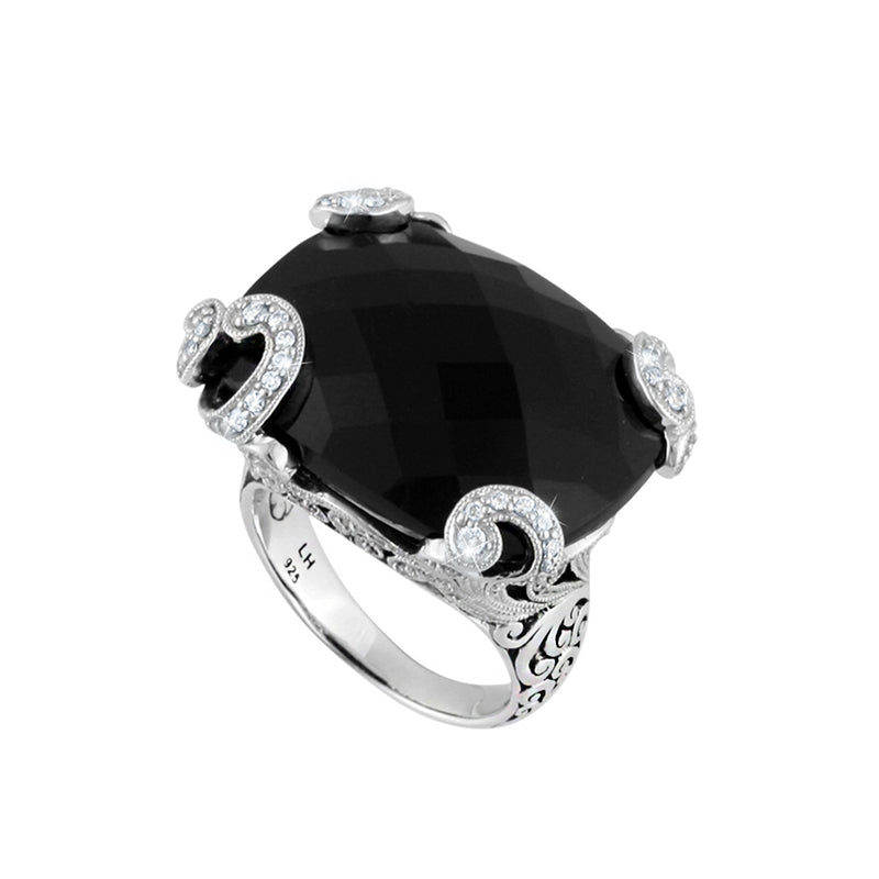 Classic Signature Scroll Rectangular Black Onyx with White Diamond Accents Cocktail Ring