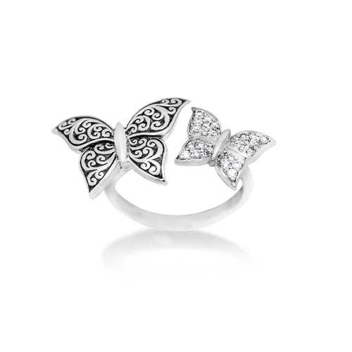 LH Hand Carved Scroll Butterflies Diamond Ring