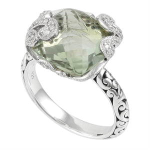 Signature Scroll Diamonds, Green Amy Classic Ring - Lois Hill Jewelry