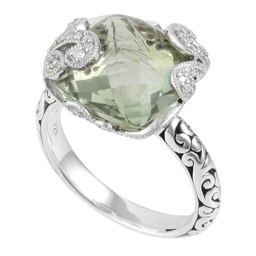 Signature Scroll Diamonds, Green Amy Classic Ring