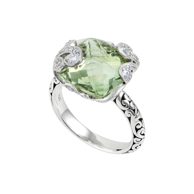 Classic Signature Scroll Square Green Quartz with White Diamond Accents Cocktail Ring