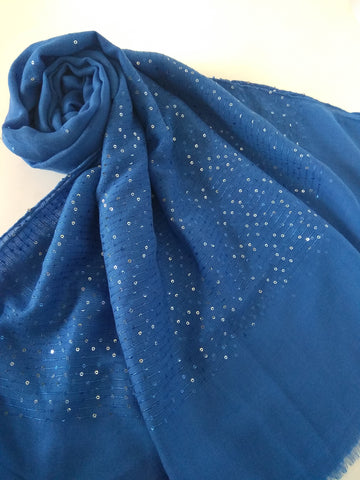 Blue sequin party  hijab