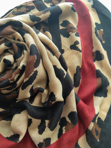 Leopard with red stripe Hijab