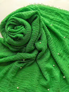 Green Crinkle with pearls hijab