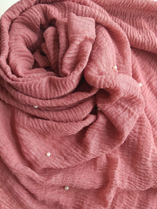 Dusky pink Crinkle with pearls hijab