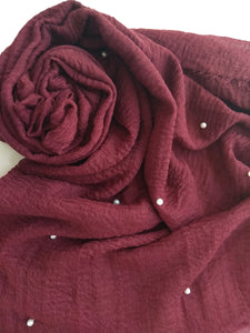 Dull maroon Crinkle with pearls hijab