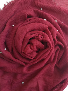 Maroon Crinkle with pearls hijab