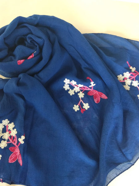 Flower embroidery Hijab blue