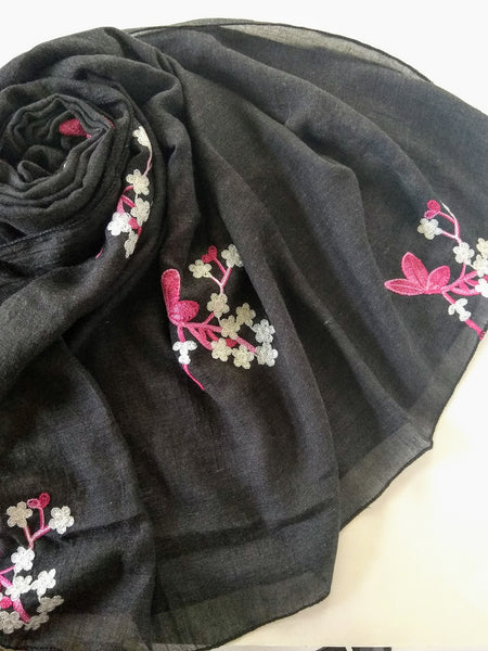 Flower embroidery Hijab dark blue
