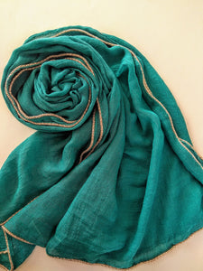 Turquoise gold chain Hijab