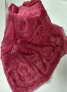 Fancy lace with rhinestones hijab burgundy