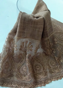 Fancy lace with rhinestones hijab khaki