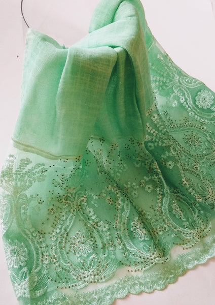 Fancy lace with rhinestones hijab green