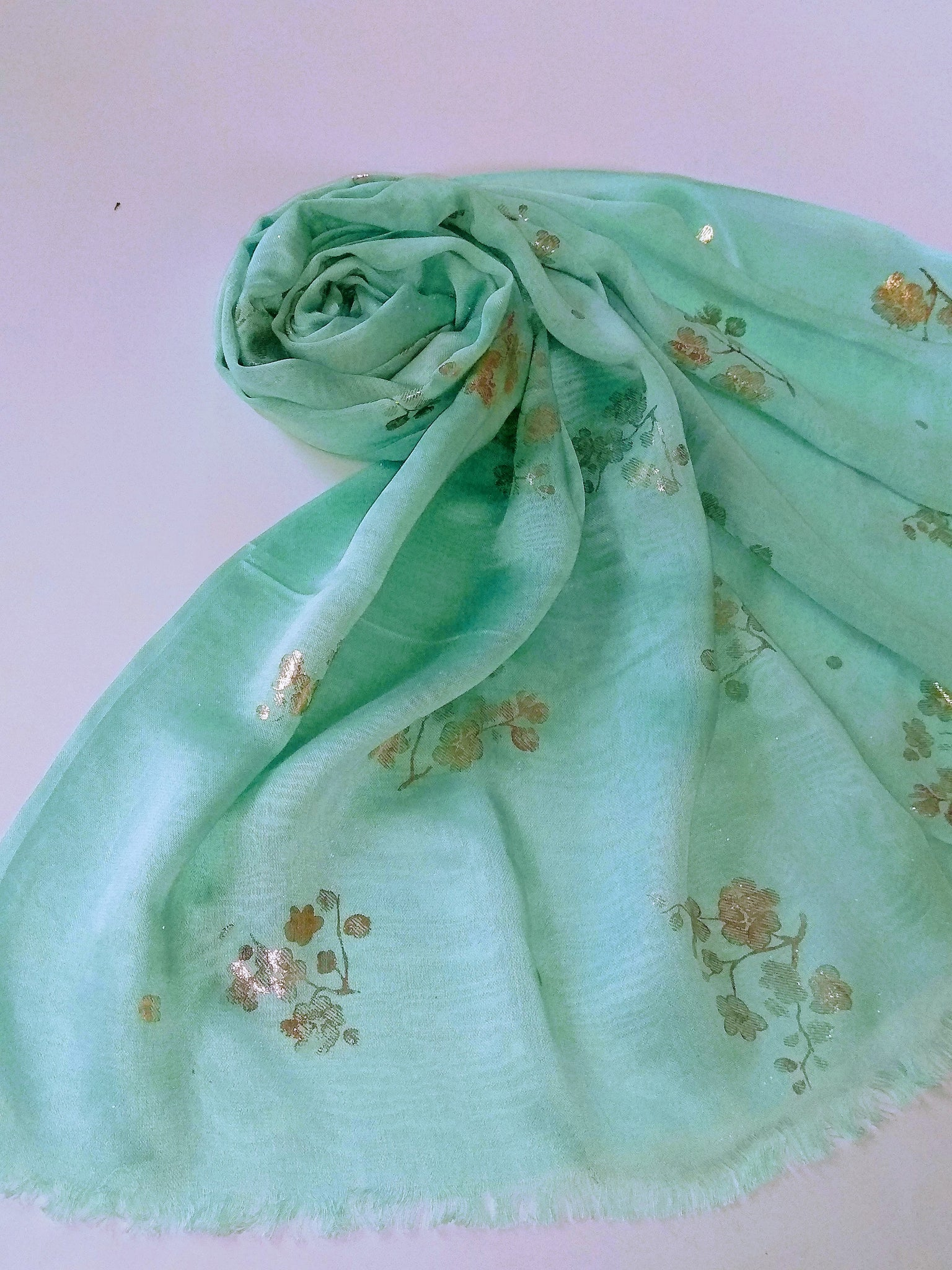 Foil flowers hijab mint