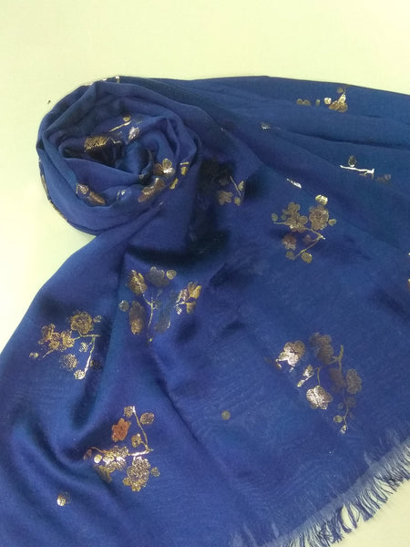 Foil flowers hijab blue