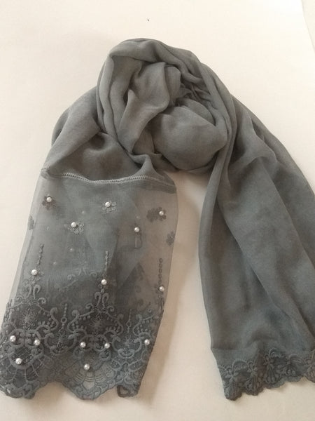 Victorian Lace with pearls hijab grey