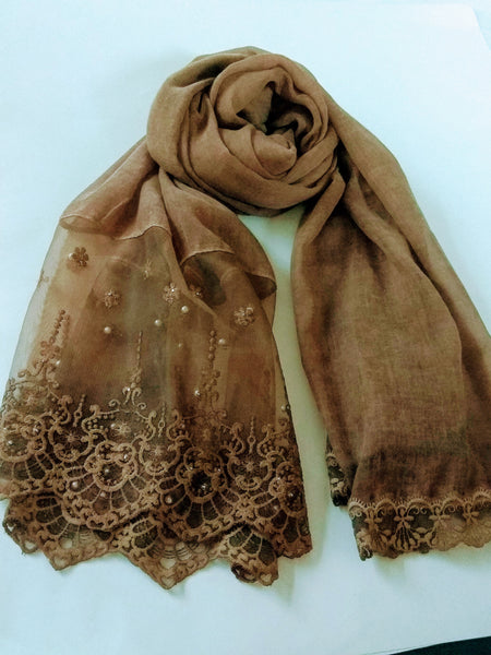 Victorian Lace with pearls hijab sand