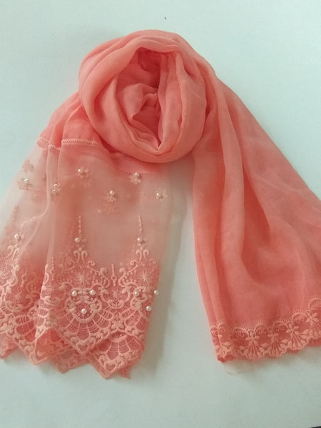 Victorian Lace with pearls hijab muave