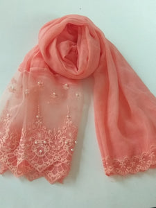 Victorian Lace with pearls hijab salmon