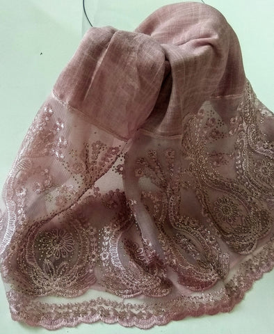 Fancy lace with rhinestones hijab dusty pink