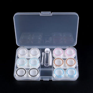 New 1 Set Unisex Contact Lens Case Box 6 Boxes Simple Transparent Leakproof Portable Storage Eye Care Kit Organizer Container