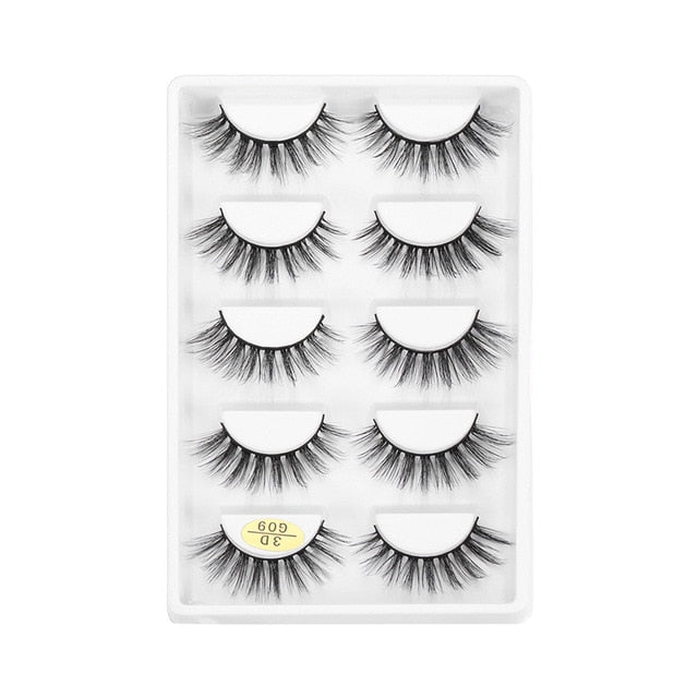 5 Pairs Soft 3D Mink Hair Lashes Real Mink False Eyelashes Natural False Lashes Handmade Eyelash Extension Makeup Tools