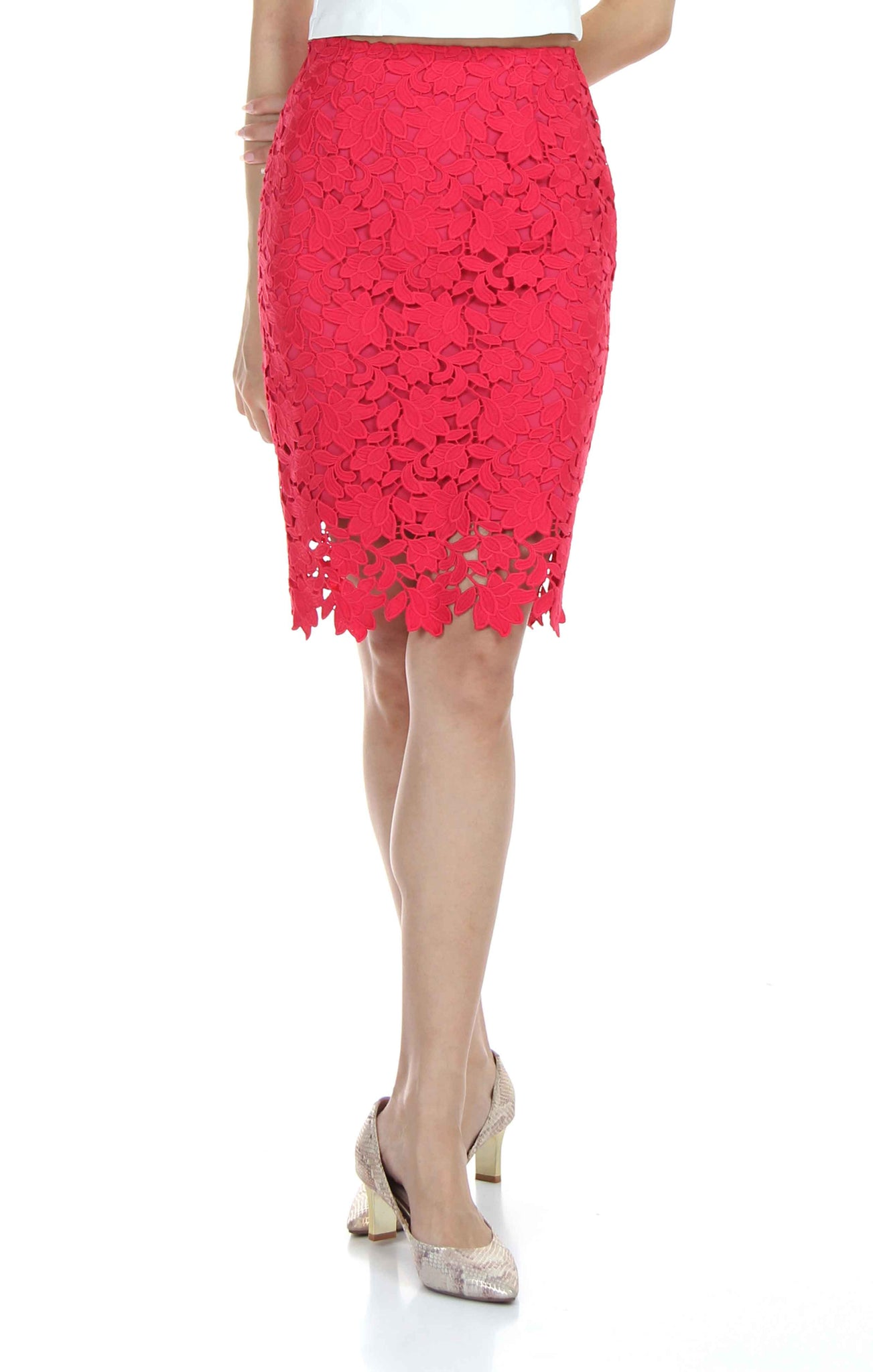 913524d9f0 A rose red high-waisted pencil skirt featuring a slim sillhoute cut and  side zip ...
