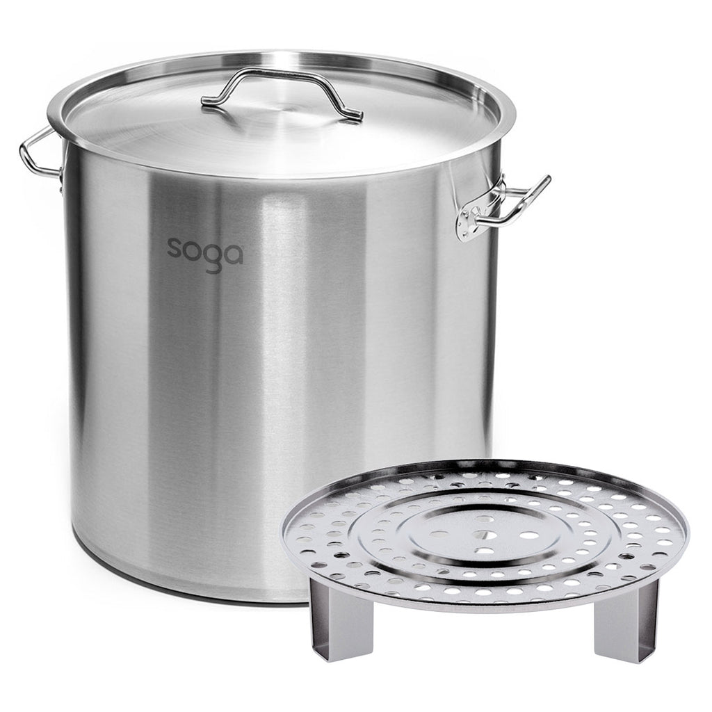 50L Silver Stainless Steel Stock Pot With One Steamer Rack - 43cm - Notbrand